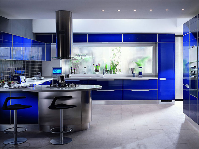 Blod Blue Metal Kitchen Cabinets