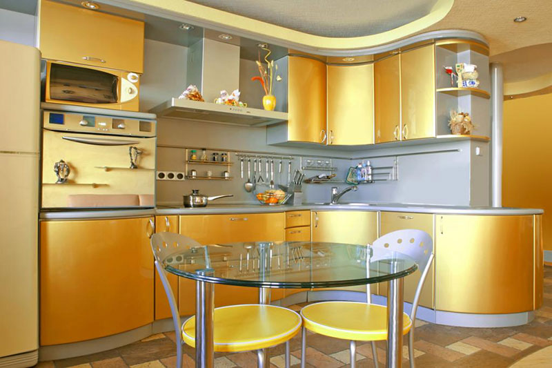 Gold Metal Kitchen Cabinets