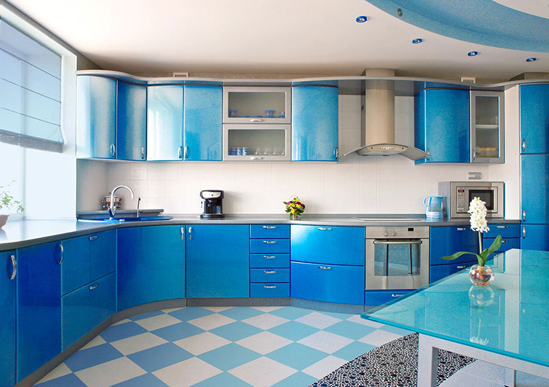 Metal Kitchen Cabinets Color Blue