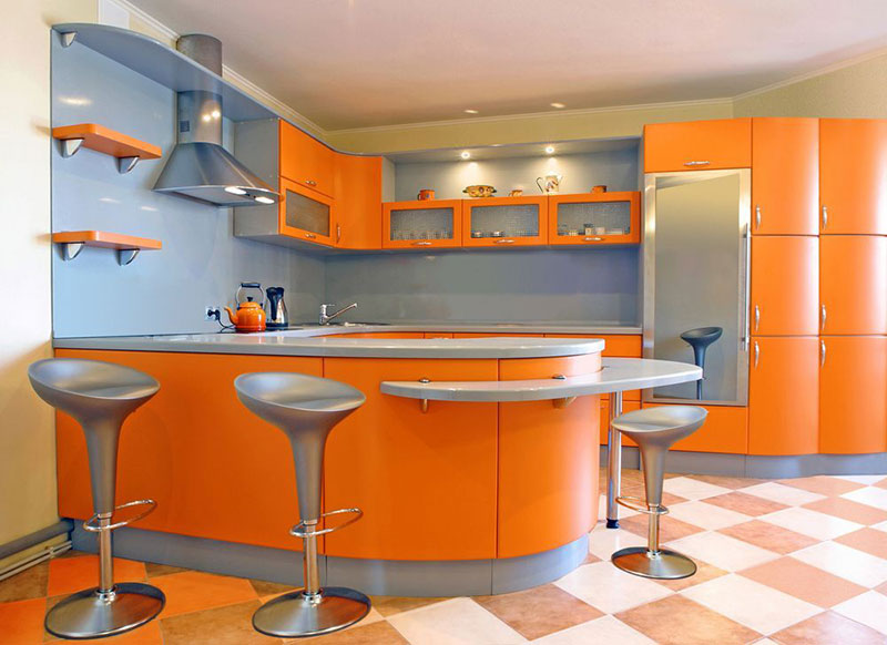 Orange Metal Kitchen Cabinets