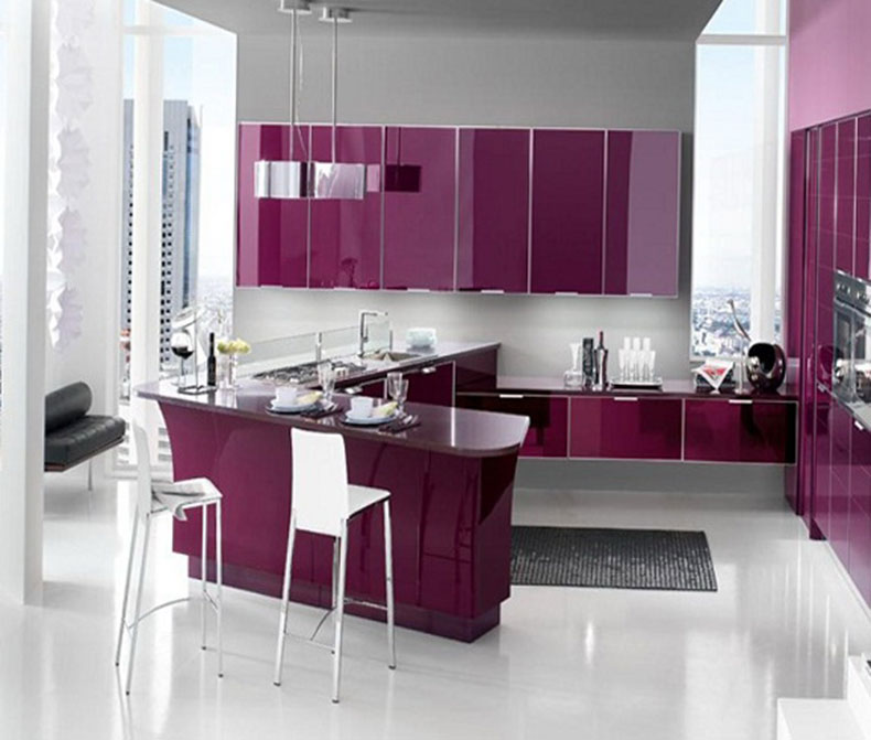 Purple Metal Kitchen Cabinets