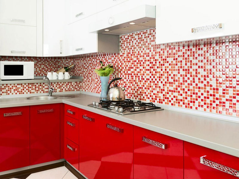 Red and White Metal Kitchen Cabinets