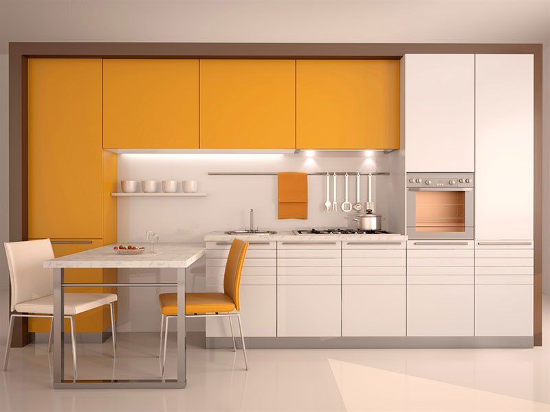 Yellow and White Metal Kitchen Cabinets