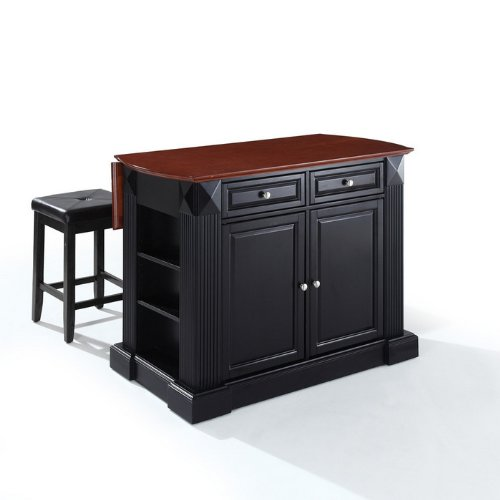 drop-leaf-breakfast-bar-top-kitchen-island-in-black-finish-with-black-upholstered-square-seat-stools