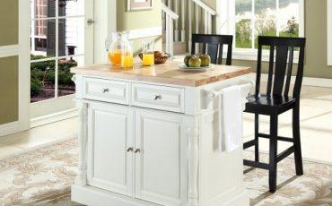 black white kitchen island with stools